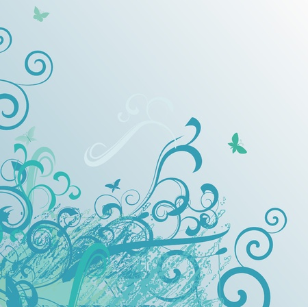 light blue vector background with butterflies