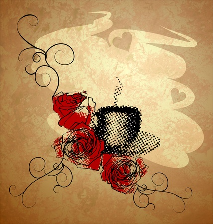 coffee cup, red roses and grunge background with hearts photo