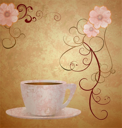 pink flowers and coffee cup on brown grunge paper background photo