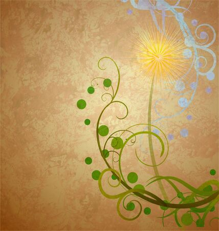 dandelion grunge composition grunge idea brown illustration illustration