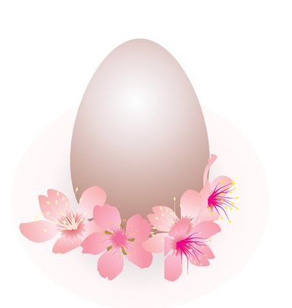 easter egg and pink flowers spring vector isolated on white Stock Photo - 13278987