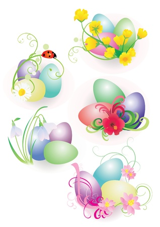 color easter eggs with flowers and ladybird set isolated on white photo