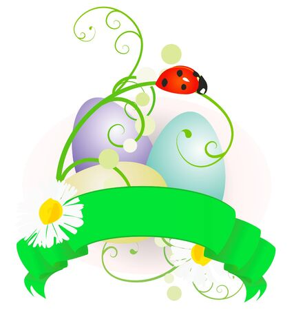 april clipart: vector Easter eggs and scroll with flowers colorful illustration isolated on white