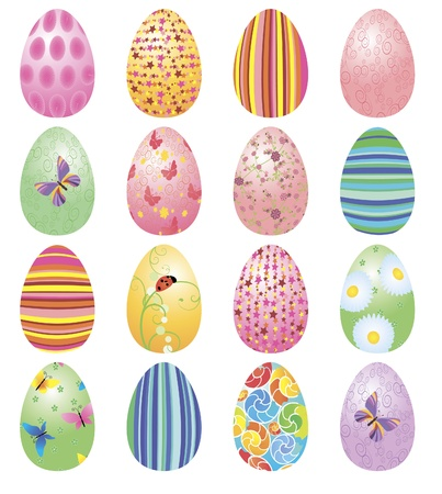 cartoon easter: colorful Easter eggs set vector isolated on white Stock Photo