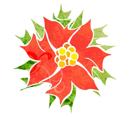 red decorative flower isolated on white watercolor illustration Stock Illustration - 13279184