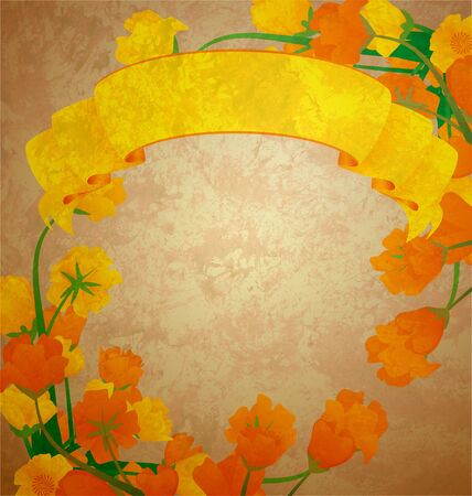 tulip yellow scroll banner grunge illustration illustration