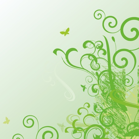 green abstract vector nature style background with butterflies photo