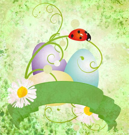 green grunge background with daisies and ladybird photo