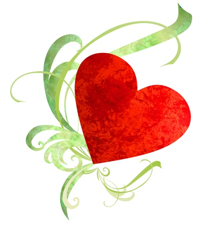 watercolor red heart with green florishes isolated on white photo