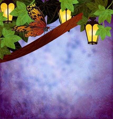 garden lanterns or lamps with yellow lights night picture grunge illustration with butterfly illustration
