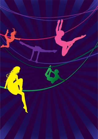 acrobat gymnast: colorful woman acrobats on dark background vector illustration
