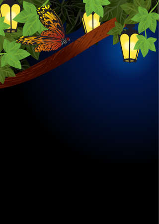 spring and summer garden lanterns lamps  night decor vector photo