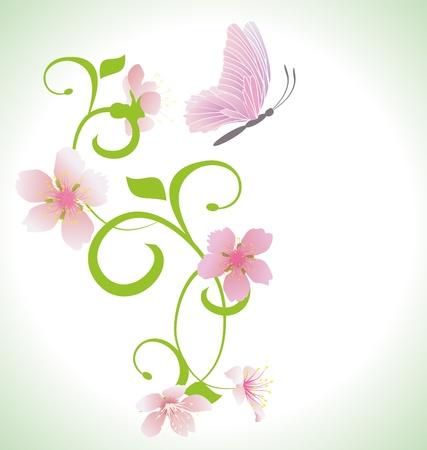 cartoon butterfly: mariposa de color rosa con flores de primavera de color rosa vector abstracto Foto de archivo