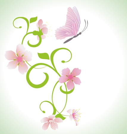 butterfly garden: pink butterfly with pink spring  flowers abstract vector Stock Photo