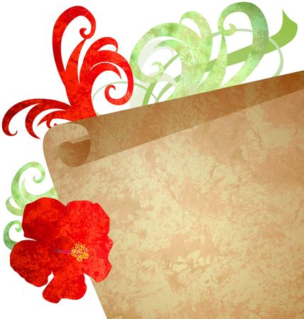 red flower and old paper scroll watercolor illustration Stock Illustration - 13279187