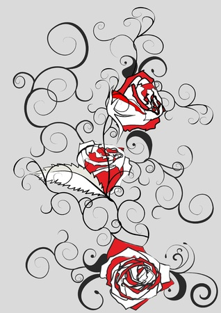black white and red vector illustration with roses on grey background