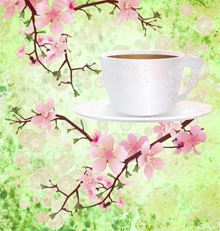 pink sakura flowers on branches with coffee  cup grunge background photo