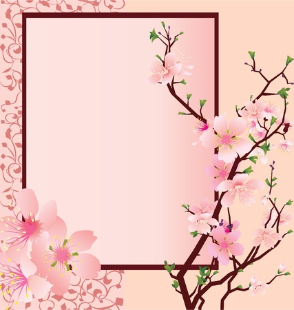 vector pink frame with sakura flowers and ornate panel Stock Photo