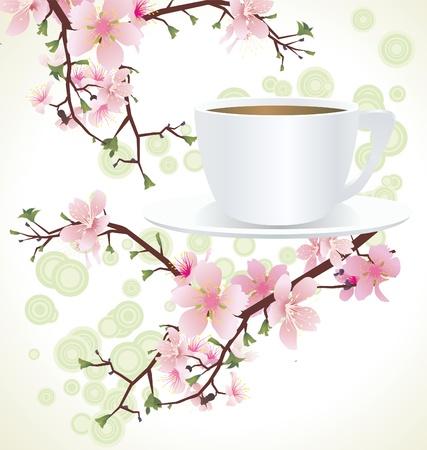 tarde de cafe: taza de t� y florecientes ramas de los �rboles de sakura cerezo Foto de archivo