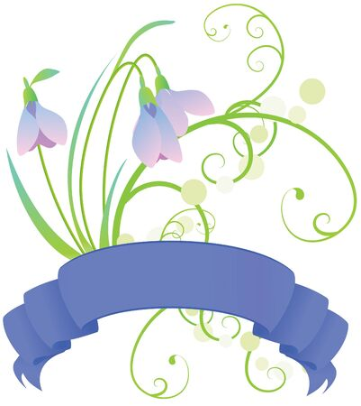 grass silhouette: vector snowdrops flowers with scroll and grass illustration Stock Photo
