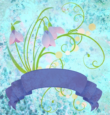 osterfest: grunge snowdrops blue scroll