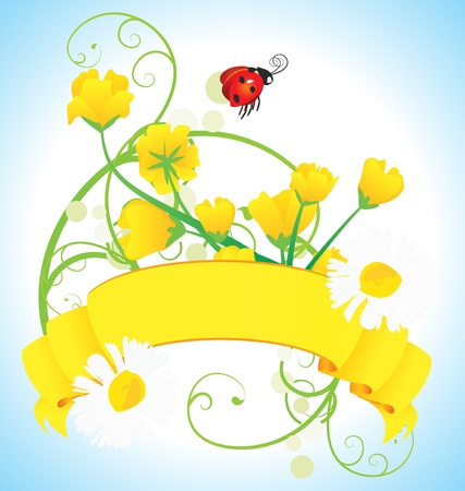 ladybird grass and daisies vector meadow illustration Stock Illustration - 13279003