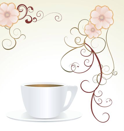 teacup: abstract white cup and decor flowers vector Stock Photo