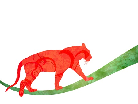 red watercolor jungle cat  panther or tiger  silhouette illustration  isolated on white illustration