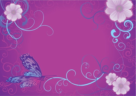 violet butterfly and flowers on dark background photo