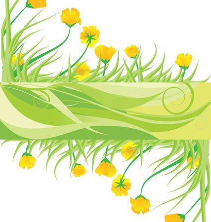 green banner with yellow flowes and green grass vector isolated on white photo