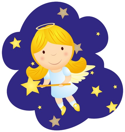 vector cute cartoon angel girl photo