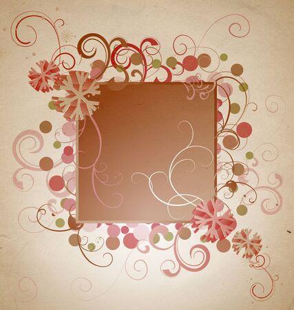 old wallpaper: christmas vintage snowflake card illustration Stock Photo