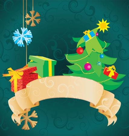 christmas scroll vintage illustration illustration