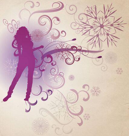 winter abstract woman silhouette retro illustration  illustration