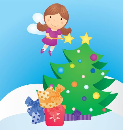 christmas tree and fairy vector cartoon photo