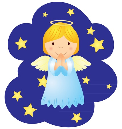 vector christmas angel in the night sky Stock Photo - 13416229