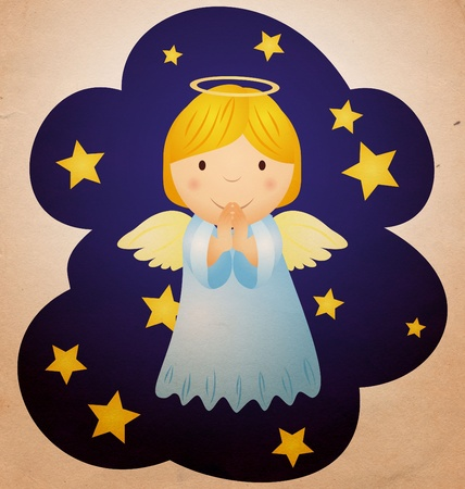 vintage christmas angel in the night sky photo