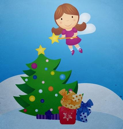 corona navidad: �rbol de Navidad y el dibujo de hadas del