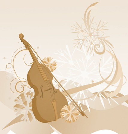 brown retro violin winter illustration illustration