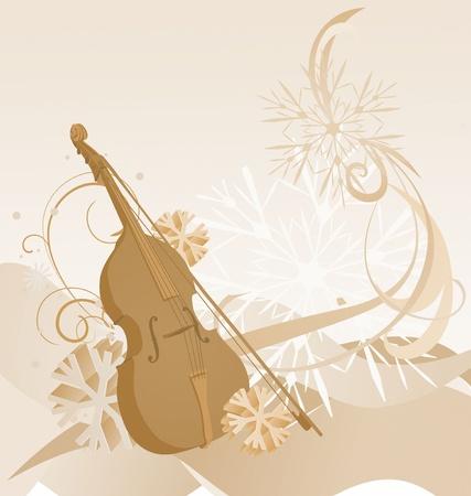 violin: brown retro violin winter illustration