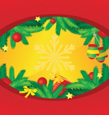 circle vector frame with cristmas tree decor photo