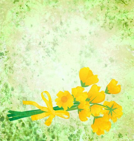 yellow flowers with ribbon on grunge green watercolor background photo