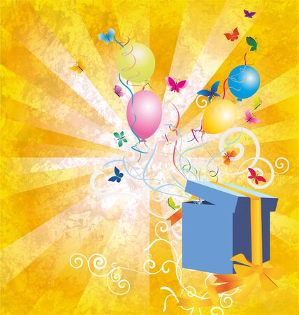 yellow light grunge backgroynd with gift box, butterflies and baloons photo