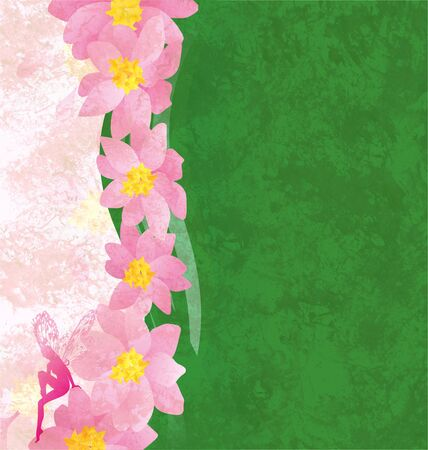 grunge background with pink flowers and green texture with pink fairy photo