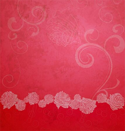 red textured illustration with roses border illustration