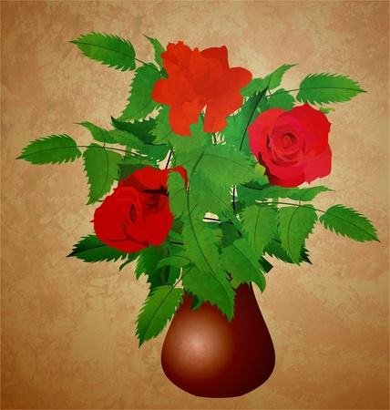 red roses in vase grunge illustration vintage style illustration