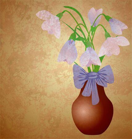 snowdrops in vase grunge illustration vintage style Stock Illustration - 13489966