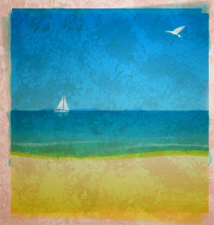 watercolor beach with sea and white yacht on the horizon with bird in the sky on old paper Stock Photo