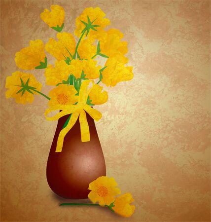 tulips in vase grunge illustration vintage style