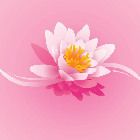 vector square pink background with water lily flower and waves photo